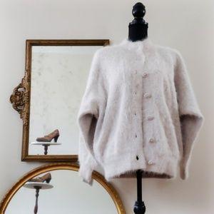 Venesha China White Dolman Sleeve Angora Coat XL